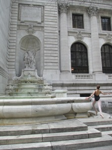 On the steps of the New York Public Library